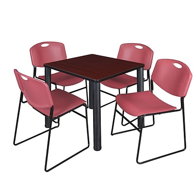 Regency Kee 30 Square Breakroom Table- Mahogany/ Black & 4 Zeng Stack Chairs- Burgundy