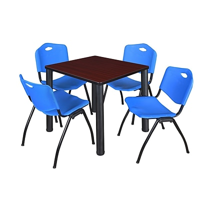Regency Kee 30 Square Breakroom Table- Mahogany/ Black & 4 M Stack Chairs- Blue