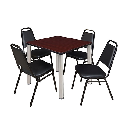 Regency Kee 30 Square Breakroom Table- Mahogany/ Chrome & 4 Restaurant Stack Chairs- Black