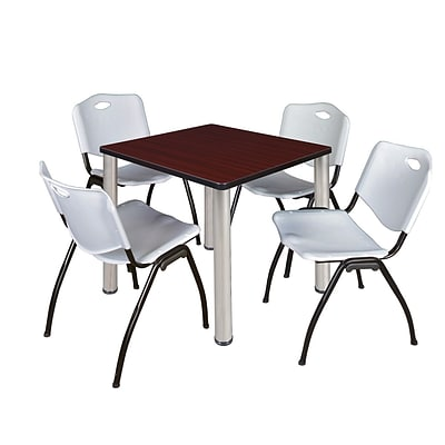 Regency Kee 30 Square Breakroom Table- Mahogany/ Chrome & 4 M Stack Chairs- Grey