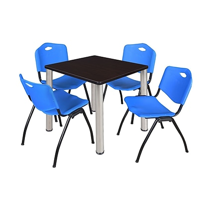 Regency Kee 30 Square Breakroom Table- Mocha Walnut/ Chrome & 4 M Stack Chairs- Blue