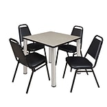 Regency Kee 30 Square Breakroom Table- Maple/ Chrome & 4 Restaurant Stack Chairs- Black