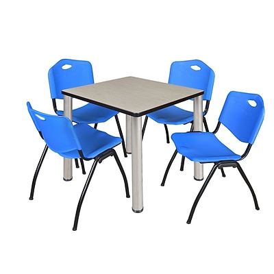 Regency Kee 30 Square Breakroom Table- Maple/ Chrome & 4 M Stack Chairs- Blue