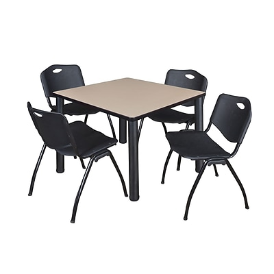 Regency Kee 36 Square Breakroom Table- Beige/ Black & 4 M Stack Chairs- Black