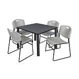 Regency Kee 36 Square Breakroom Table- Grey/ Black & 4 Zeng Stack Chairs- Grey