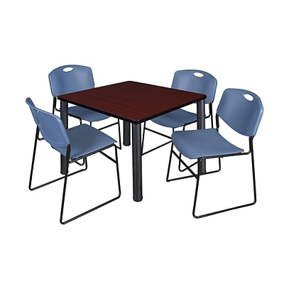 Regency Kee 36 Square Breakroom Table- Mahogany/ Black & 4 Zeng Stack Chairs- Blue