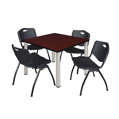Regency Kee 36 Square Breakroom Table- Mahogany/ Chrome & 4 M Stack Chairs- Black
