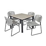 Regency Kee 36 Square Breakroom Table- Maple/ Black & 4 Zeng Stack Chairs- Grey