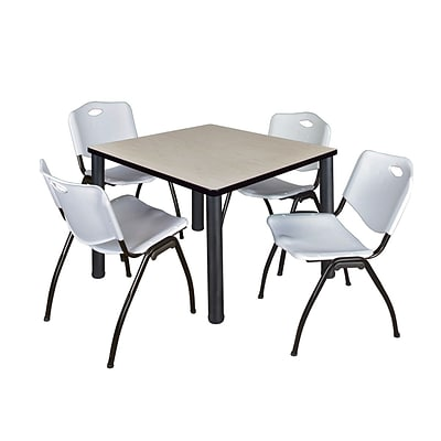 Regency Kee 36 Square Breakroom Table- Maple/ Black & 4 M Stack Chairs- Grey