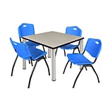 Regency Kee 36 Square Breakroom Table- Maple/ Chrome & 4 M Stack Chairs- Blue