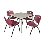 Regency Kee 36 Square Breakroom Table- Maple/ Chrome & 4 M Stack Chairs- Burgundy