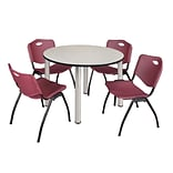 Regency Kee 48 Round Breakroom Table- Maple/ Chrome & 4 M Stack Chairs- Burgundy