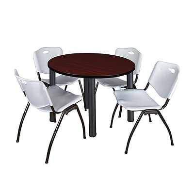 Regency Kee 42 Round Breakroom Table- Mahogany/ Black & 4 M Stack Chairs- Grey