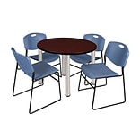 Regency Kee 42 Round Breakroom Table- Mahogany/ Chrome & 4 Zeng Stack Chairs- Blue