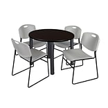 Regency Kee 42 Round Breakroom Table- Mocha Walnut/ Black & 4 Zeng Stack Chairs- Grey