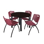 Regency Kee 42 Round Breakroom Table- Mocha Walnut/ Black & 4 M Stack Chairs- Burgundy