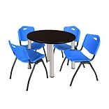 Regency Kee 42 Round Breakroom Table- Mocha Walnut/ Chrome & 4 M Stack Chairs- Blue