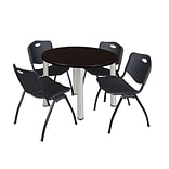 Regency Kee 42 Round Breakroom Table- Mocha Walnut/ Chrome & 4 M Stack Chairs- Black