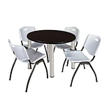 Regency Kee 42 Round Breakroom Table- Mocha Walnut/ Chrome & 4 M Stack Chairs- Grey