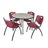 Regency Kee 42 Round Breakroom Table- Maple/ Chrome & 4 M Stack Chairs- Burgundy