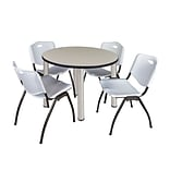 Regency Kee 42 Round Breakroom Table- Maple/ Chrome & 4 M Stack Chairs- Grey
