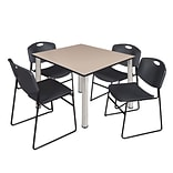Regency Kee 48 Square Breakroom Table- Beige/ Chrome & 4 Zeng Stack Chairs- Black