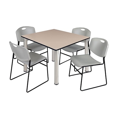 Regency Kee 48 Square Breakroom Table- Beige/ Chrome & 4 Zeng Stack Chairs- Grey