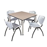 Regency Kee 48 Square Breakroom Table- Beige/ Chrome & 4 M Stack Chairs- Grey