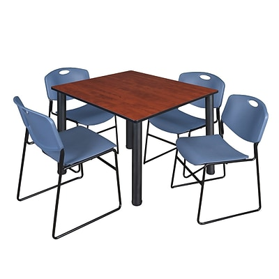 Regency Kee 48 Square Breakroom Table- Cherry/ Black & 4 Zeng Stack Chairs- Blue