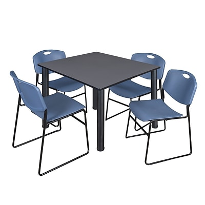 Regency Kee 48 Square Breakroom Table- Grey/ Black & 4 Zeng Stack Chairs- Blue