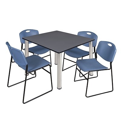 Regency Kee 48 Square Breakroom Table- Grey/ Chrome & 4 Zeng Stack Chairs- Blue