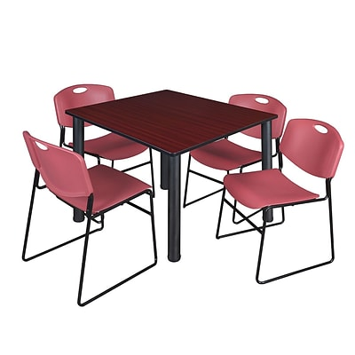 Regency Kee 48 Square Breakroom Table- Mahogany/ Black & 4 Zeng Stack Chairs- Burgundy