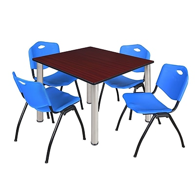 Regency Kee 48 Square Breakroom Table- Mahogany/ Chrome & 4 M Stack Chairs- Blue