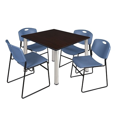 Regency Kee 48 Square Breakroom Table- Mocha Walnut/ Chrome & 4 Zeng Stack Chairs- Blue