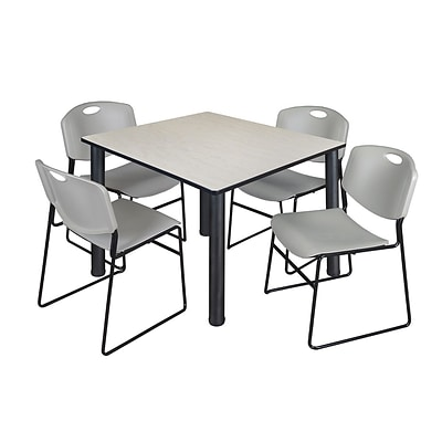 Regency Kee 48 Square Breakroom Table- Maple/ Black & 4 Zeng Stack Chairs- Grey