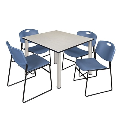 Regency Kee 48 Square Breakroom Table- Maple/ Chrome & 4 Zeng Stack Chairs- Blue