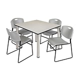 Regency Kee 48 Square Breakroom Table- Maple/ Chrome & 4 Zeng Stack Chairs- Grey