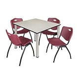 Regency Kee 48 Square Breakroom Table- Maple/ Chrome & 4 M Stack Chairs- Burgundy