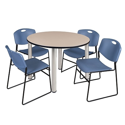 Regency Kee 48 Round Breakroom Table- Beige/ Chrome & 4 Zeng Stack Chairs- Blue