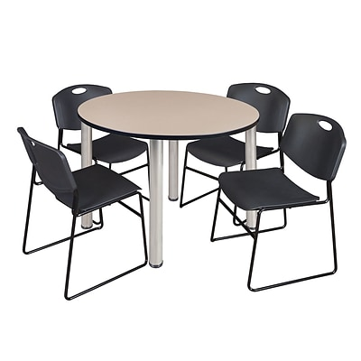 Regency Kee 48 Round Breakroom Table- Beige/ Chrome & 4 Zeng Stack Chairs- Black