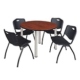 Regency Kee 48 Round Breakroom Table- Cherry/ Chrome & 4 M Stack Chairs- Black