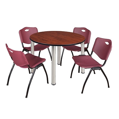 Regency Kee 48 Round Breakroom Table- Cherry/ Chrome & 4 M Stack Chairs- Burgundy