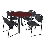 Regency Kee 48 Round Breakroom Table- Mahogany/ Black & 4 Zeng Stack Chairs- Black