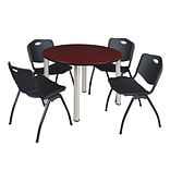 Regency Kee 48 Round Breakroom Table- Mahogany/ Chrome & 4 M Stack Chairs- Black