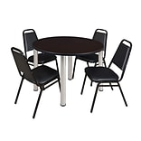 Regency Kee 48 Round Breakroom Table- Mocha Walnut/ Chrome & 4 Restaurant Stack Chairs- Black