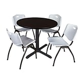Regency Cain 36 Round Breakroom Table- Mocha Walnut & 4 M Stack Chairs- Grey