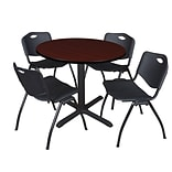 Regency Cain 42 Round Breakroom Table- Mahogany & 4 M Stack Chairs- Black