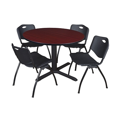 Regency Cain 48 Round Breakroom Table- Mahogany & 4 M Stack Chairs- Black