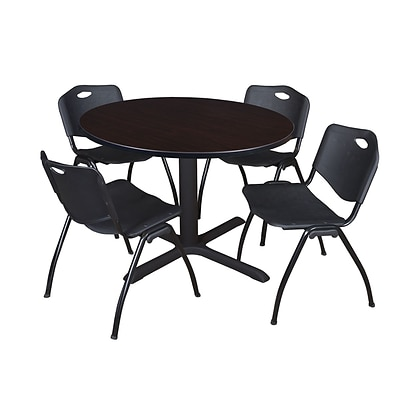 Regency Cain 48 Round Breakroom Table- Mocha Walnut & 4 M Stack Chairs- Black