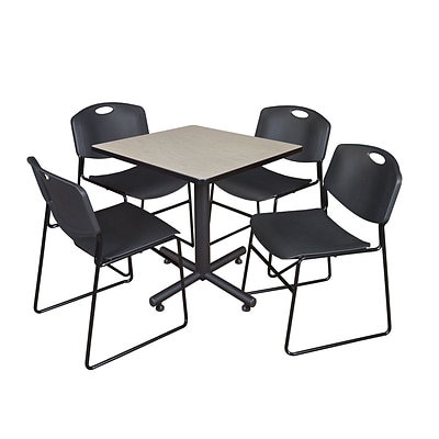 Regency Kobe 30 Square Breakroom Table- Maple & 4 Zeng Stack Chairs- Black